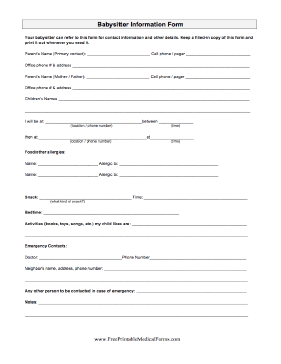 Revered image throughout babysitter forms printable free
