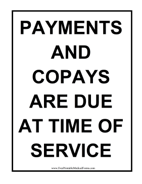 Printable Copay Sign