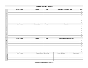 Printable daily appointment record for Appointment log template
