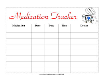kids medication tracker medical form