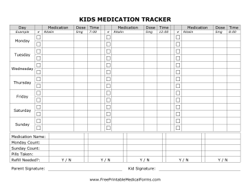 free printable medication tracker template