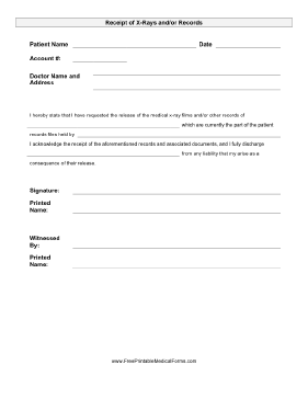 Printable X Ray Release Form